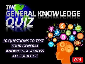 The General Knowledge Pub Quiz #15 Tutor Cross Curricular Settler End of Term