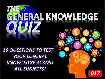 The General Knowledge Pub Quiz #17 Tutor Cross Curricular Settler End of Term