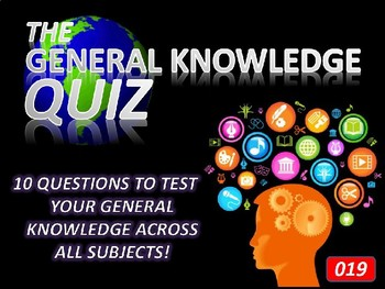The General Knowledge Pub Quiz #19 Tutor Cross Curricular Settler End of Term