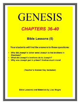 Bundle (5 weeks)  - Genesis Bible Lessons (Chs.36-40) (NKJV) No Prep w/TAK.