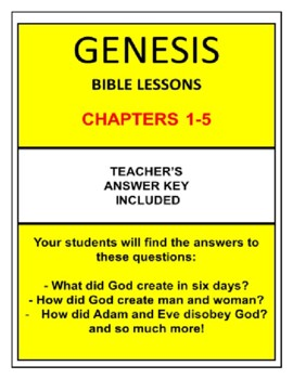 Genesis Bible Study (Chs.1-5) No Prep with Teacher's Ans Key *TOP SELLER*