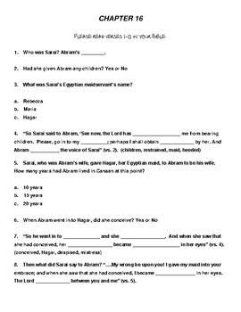 Genesis Bible Study  (Chs. 16-20)  - No Prep with Teacher's Answer Key