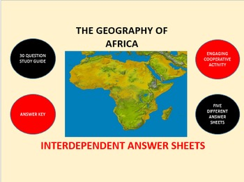 The Geography of Africa: Interdependent Answer Sheets Activity