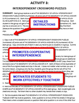 The Geography of Africa: Interdependent Crossword Puzzles Activity