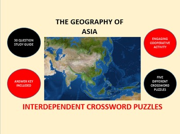 The Geography of Asia: Interdependent Crossword Puzzles Activity