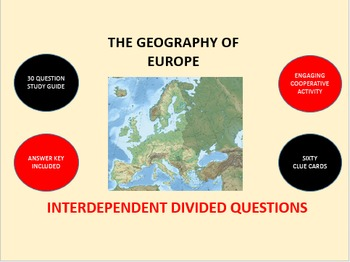 The Geography of Europe: Interdependent Divided Questions Activity