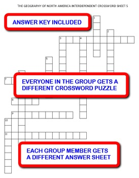 The Geography of North America: Interdependent Crossword Puzzles Activity