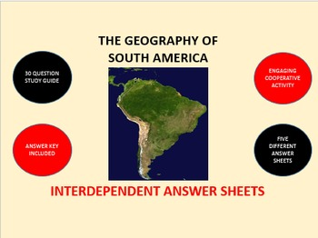 The Geography of South America: Interdependent Answer Sheets Activity