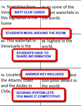 The Geography of South America: Interdependent Divided Questions Activity