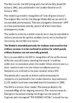 The George Medal Handout