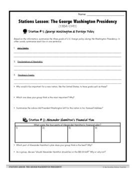 George Washington Presidency Stations Lesson