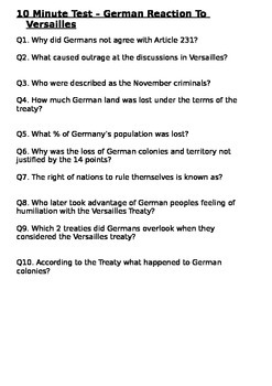 The German Reaction to the Versailles Treaty - 10 Minute Test