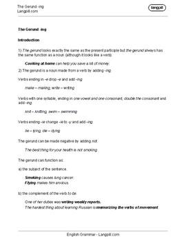 The Gerund 'ing' Worksheet
