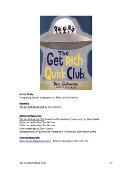 The Get Rich Quick Club ~ Novel Unit