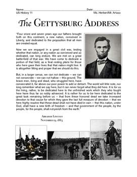 The Gettysburg Address (US History 7/8/11)