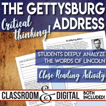 The Gettysburg Address Close Reading Activity The Civil War