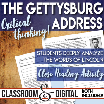 The Gettysburg Address Close Reading Activity The Civil War