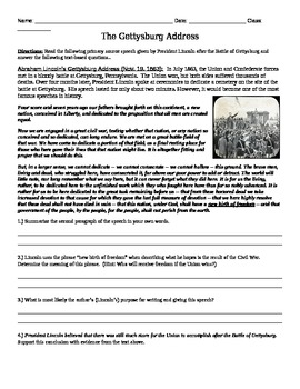 The Gettysburg Address Common Core Text-based Answers Activity