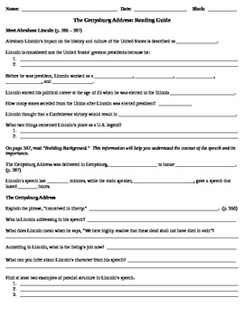 The Gettysburg Address Reading Guide