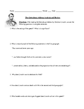 The Gettysburg Address: Test, Worksheet, or Homework Assignment ...