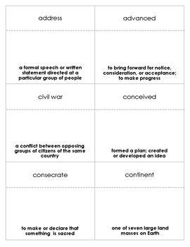 The Gettysburg Address Vocabulary Bingo