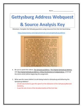 The Gettysburg Address- Webquest and Source Analysis with Key