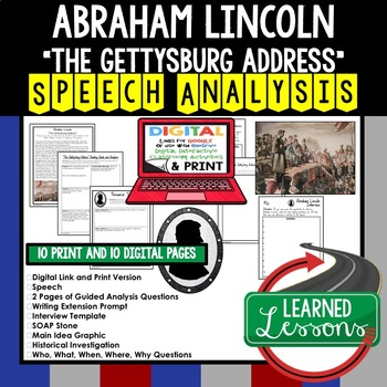 The Gettysburg Address by Abraham Lincoln Speech Analysis and Writing Activity