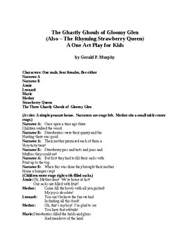 The Ghastly Ghouls of Gloomy Glen - One Act PowerPoint Drama for Kids
