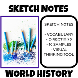 Sketch Notes Activity World History with Vocabulary