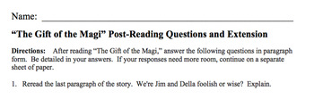 The Gift of the Magi by O. Henry Short Story Lesson and Activity Pack