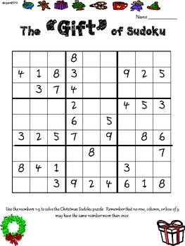 Christmas Gift Sudoku Upper Elementary