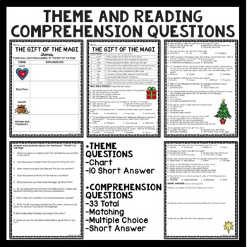 The Gift of the Magi Anticipation Guide, Reading Guide, Comprehension Questions