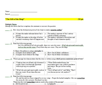 The Gift of the Magi Common Core Standards Keystone Aligned Quiz & Key