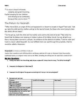 The Gift of the Magi Follow up Comparison/Contrast Activity Minilesson