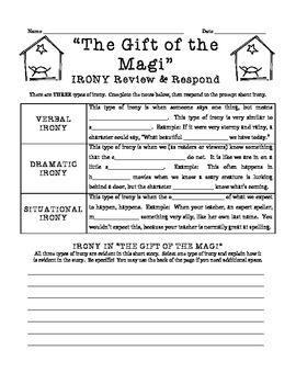 """""""The Gift of the Magi"""" -- Irony notes & lesson"""