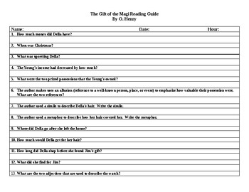 The Gift of the Magi Reading Guide and Key