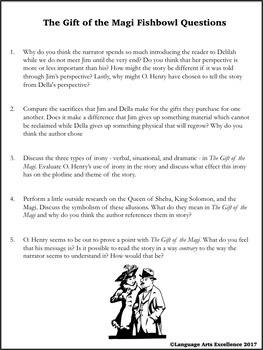 The Gift of the Magi Socratic Seminar Materials