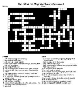 the gift of the magi vocabulary crossword and word search with keys. Black Bedroom Furniture Sets. Home Design Ideas
