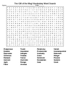The Gift of the Magi: Vocabulary Crossword and Word Search with KEYs