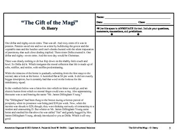 gift of the magi by o henry annotation organizer tpt. Black Bedroom Furniture Sets. Home Design Ideas