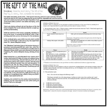 The Gift of the Magi Short Story by O. Henry: Common Core ELA Test Prep Quiz
