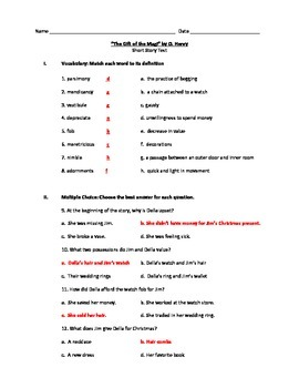 The Gift of the Magi by O. Henry Short Story Test with Answer Key