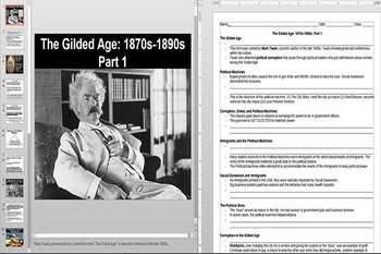 The Gilded Age Powerpoint AND Notes Worksheet