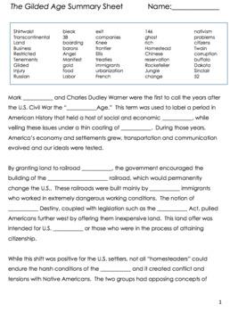 The Gilded Age Summary Sheet