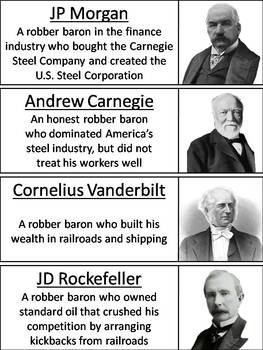 The Gilded Age and Robber Barons Word Wall Cards
