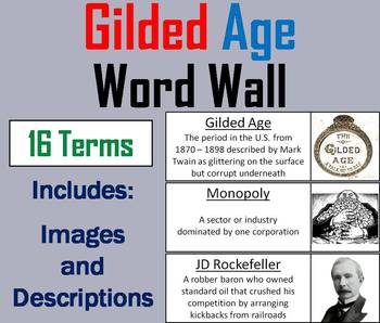 Gilded Age and Robber Barons Word Wall Cards
