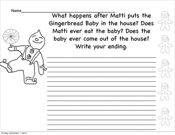 "Writing about ""The Gingerbread Baby"" by Jan Brett (Prompt)"