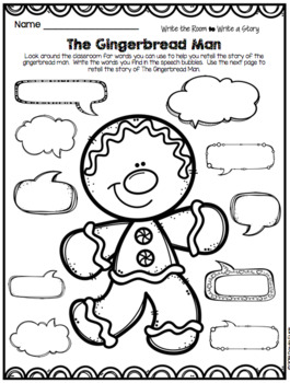 The Gingerbread Man Activities - Folktales Emergent Reader Writing