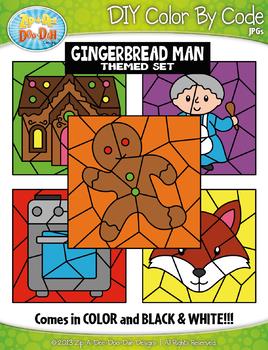 The Gingerbread Man Color By Code Clipart {Zip-A-Dee-Doo-Dah Designs}