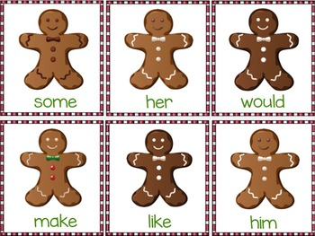 Gingerbread Man Literacy: Fry's First Hundred Words Game